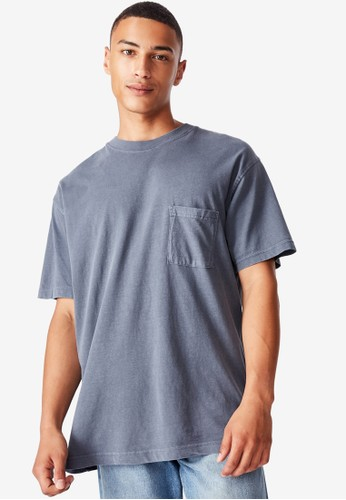 Cotton On blue and grey Washed Pocket T-Shirt E2EB3AAA7DF538GS_1