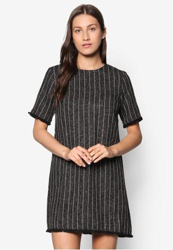 Collection 鬢毛條紋連身裙、 服飾、 洋裝ZALORACollection鬢毛條紋連身裙最新折價