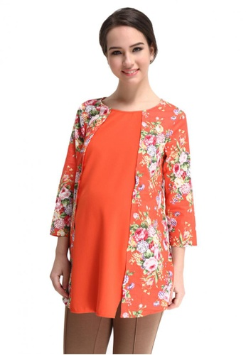 Bove by Spring Maternity orange Woven Dolman Sleeve Ann Printed Tunic SP010AA95HXSSG_1