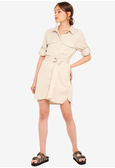 4b20b0c0133e TOPSHOP Stone Utility Shirt Mini Dress S$ 89.90. Sizes 4 6 8 10 12