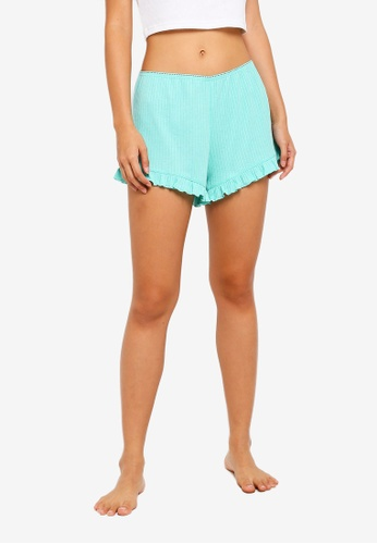 Cotton On Body green Rib Frill Shorts 46B31AAC12298CGS_1