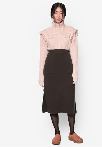 韓系esprit 澳門時尚貼合袋針織及膝裙, 服飾, 裙子