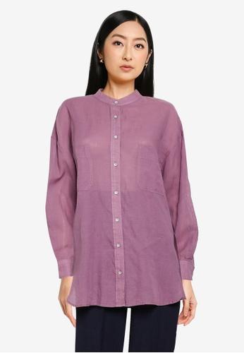 JEANASIS purple Long Sleeve Woven Shirt 99FFEAA445D355GS_1