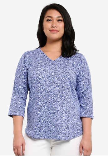 Ex'otico blue Plus Size 3/4 Sleeve Printed Top EX373AA0RUVXMY_1