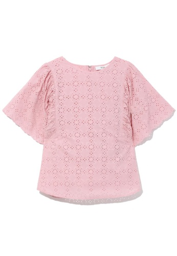 b+ab pink Broiderie anglaise ruffle sleeve top 28488AABCB5909GS_1