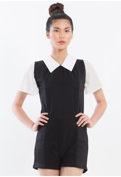 [PRE-ORDER] Semi stretch romper with circular sheer sleeves and collar.