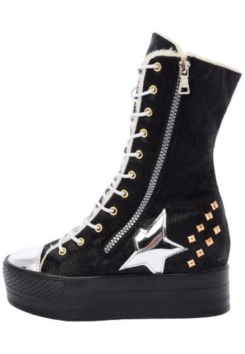 Maxstar C50 568 Inside Fur Synthetic Leather Studed Black Plarform Half-Long Boots US Women Size MA168SH31DJSHK_1