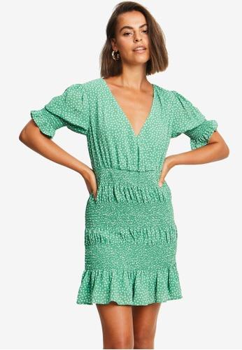 Sável green Leyla Mini Dress B9D19AA6AF4706GS_1