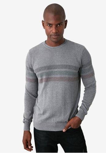 Trendyol grey Stripe Panel Crew Neck Slim Fit Sweater F1BE1AA6AFD575GS_1