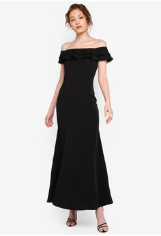 d6f39c72369f Preen & Proper black Off Shoulder Ruffle Mermaid Dress A3695AAEA9C537GS_1