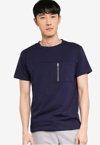 ZALORA BASICS navy Zipper Pocket Utility T-Shirt 5E217AA7AD451FGS_1