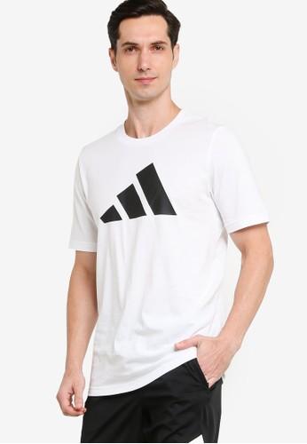 ADIDAS white sportswear logo tee 64DEAAAF121E50GS_1