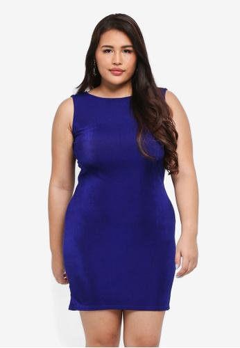 MISSGUIDED blue Plus Size Slinky Tie Cowl Dress 49CC6AA516A306GS_1