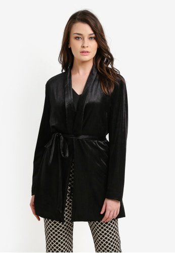 Zalia black Velvet Long Blazer CAE57AA88BFF15GS_1