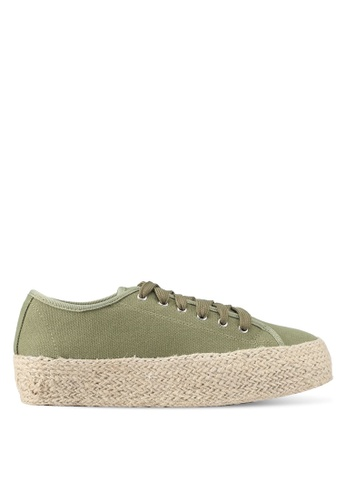 Something Borrowed green Weaved Texture Sneakers 32D4ASH2E770FFGS_1