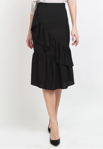 df163b74f9 Buy Lowela Ruffle Mermaid Midi Skirt Online | ZALORA Malaysia