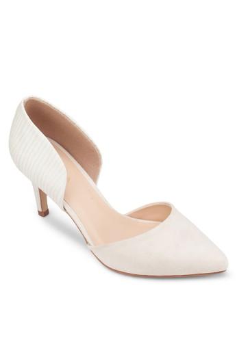 異材質zalora鞋子評價拼接側空高跟鞋, 女鞋, 鞋