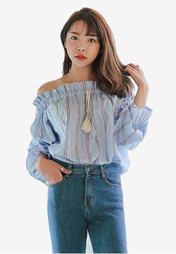 彈性露肩領印花T-shirt、 服飾、 印花時代Stylenanda彈性露肩領印花上衣最新折價