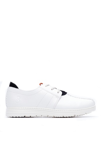 Life8 white Lightweight Wax Cow Leather Casual Shoes-09423-White LI286SH83KBKMY_1