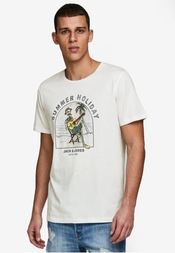 Jack & Jones white Graphic Short Sleeves Crew Neck Tee 48456AAE404438GS_1