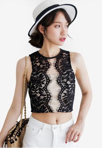 Shopsfashion black Sleeveless Lace Cropped Top 30FAFAAFD62B23GS_1
