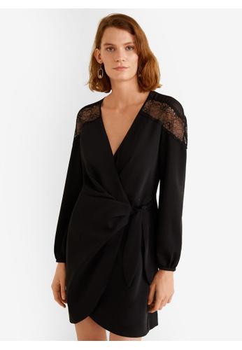 Mango black Lace V-Neckline Dress 63C1FAA1B8DC6CGS_1