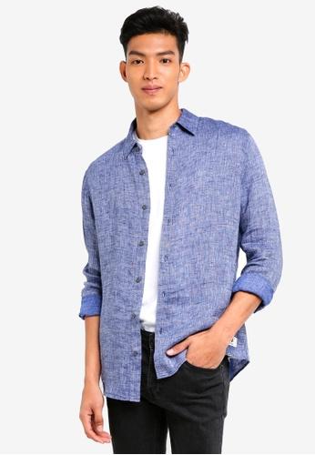 Jack Wills blue Jaywick Solid Linen Shirt CF774AA803A752GS_1