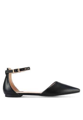 ZALORA black Ankle Strap Studded D'Orsay Flats 126DCSHA461CE6GS_1