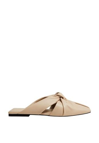 Mango beige Knot Flat Sandals 6252CSH632E171GS_1