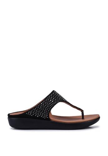 NOVENI black Metal Detail Toe Post Sandals 30333SH162470EGS_1