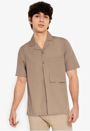ZALORA BASICS brown Long Rectangle Pocket Shirt 6507FAA362F24DGS_1