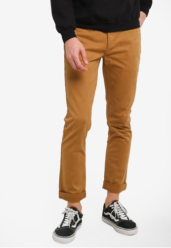 Topman yellow Mustard Stretch Slim Chinos TO413AA0RZZRMY_1