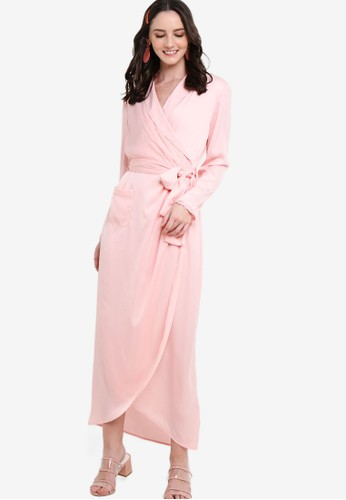 Jual Lubna Draped Embellished Wrap Dress Original | ZALORA