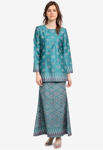 Butik Sireh Pinang green Humaira Short Cotton Satin Modern Kurung with Songket Print BU003AA0SPWTMY_1