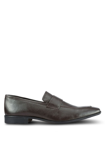 ZALORA brown Soft Cowhide Leather Dress Loafers 97688SH7F129E3GS_1