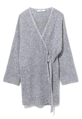b+ab black Wrap knit cardigan 12093AA8F69739GS_1