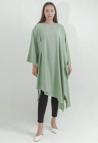 THE GOODS DEPT green IKYK x Shop At Velvet - Drape Long Tunic Light Green 1226FAA819D261GS_1