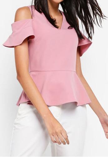 ZALORA pink Cold Shoulder Top 505EEAAA4A043EGS_1