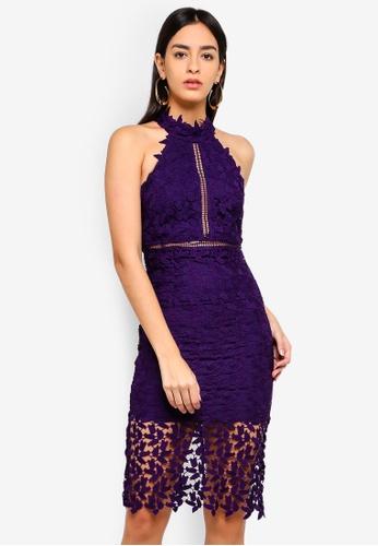 Bardot purple Gemma Halter Dress 07A1AAAE28EB1BGS_1