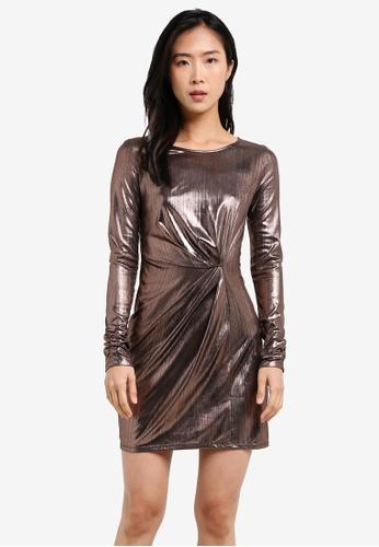 Miss Selfridge gold Metallic Twist Mini Dress MI665AA0S2KUMY_1