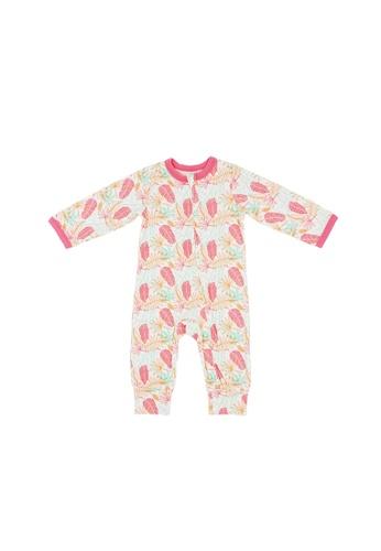 Baby Lovett pink Fern Leaves Two-Way Zipper Suit 8F761KA22E7F9BGS_1