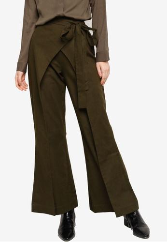 Zalia green Wrap Tied Pants 722B4AAB93044CGS_1