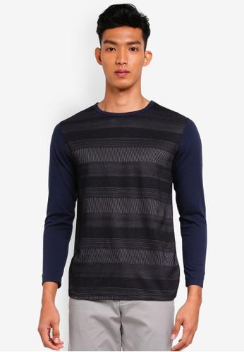 UniqTee 黑色 長袖條紋T恤 78707AAB7EB762GS_1