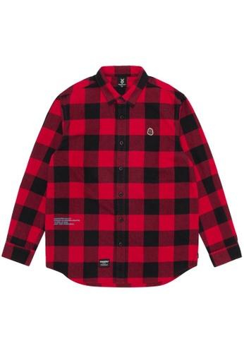 Fingercroxx red Logo flannel shirt 9D244AAAF13435GS_1