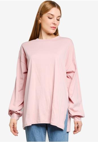 LOWRYS FARM pink Oversized Slit Sweatshirt 10D58AA58684E9GS_1