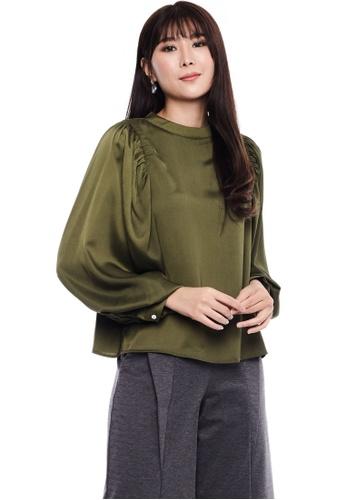 Nichii green Classic Bishop Sleeve Blouse D127DAA4DF6A60GS_1