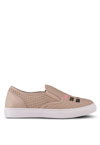 Something Borrowed 米褐色 刺繡懶人鞋 D4467SHB8B7DE4GS_1