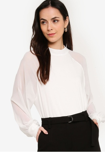 French Connection white Noemi Woven Mix Mock Neck Top 9665FAAFACE2CFGS_1