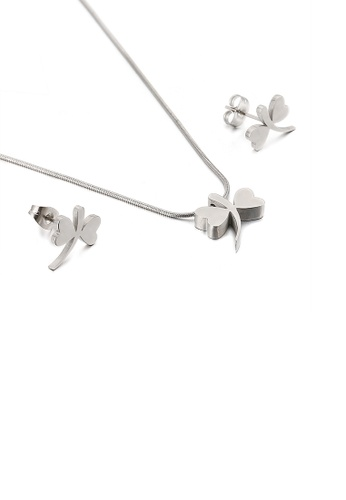 Glamorousky silver Simple and Exquisite Dragonfly 316L Stainless Steel Necklace and Stud Earring Set 60BC7ACF208B57GS_1