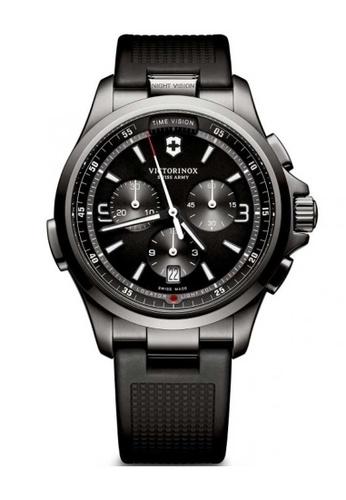 fcdd2d8a5b55 Victorinox Swiss Army Night Vision Gunmetal and Black Rubber Watch